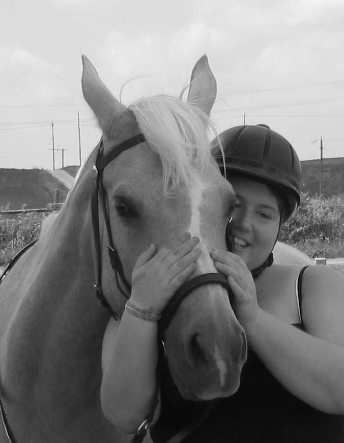 Loves Her Horse--B&W